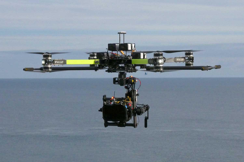 vulcan raven and alexa mini in flight over sea