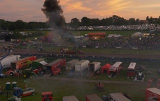 tractor pull at sunset