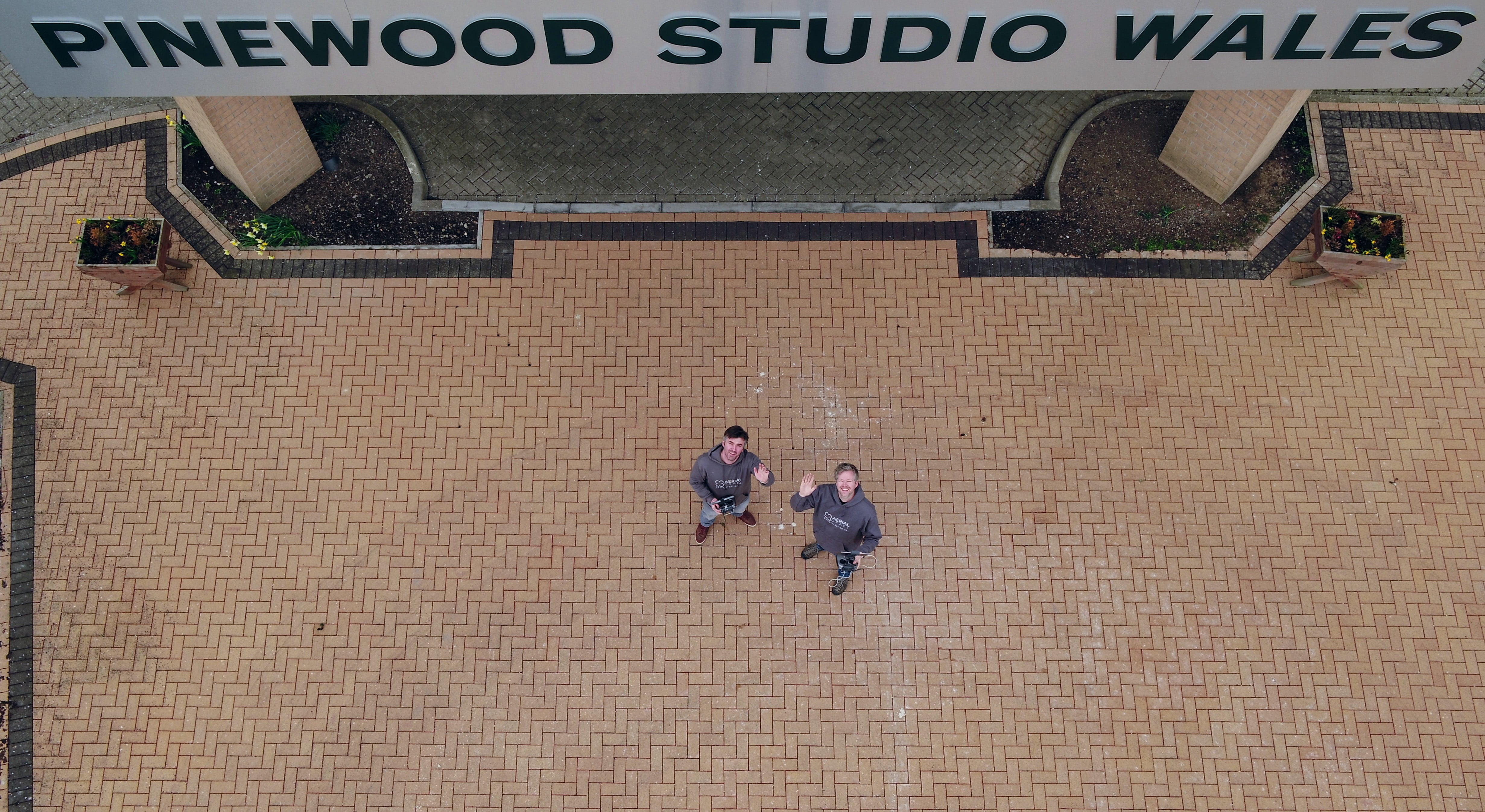 aerial view of us outside pinewood studios